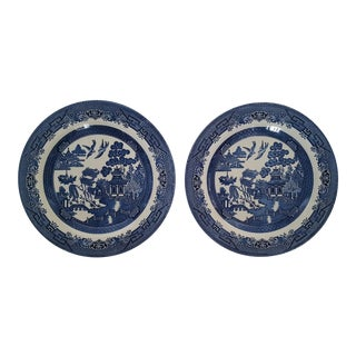 Set of 2 Churchhill England Blue Willow Pagoda Transferware Plates