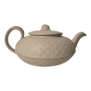 19th Century Basket Weave Stoneware Tea Pot with Sheaf of Wheat Finial