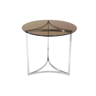Triangular Bent Chrome Ribbon Base Smoked Glass Top Side End Table