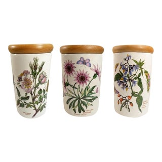 Set of 3 Portmeirion Porcelain Canisters Botanic Garden From England