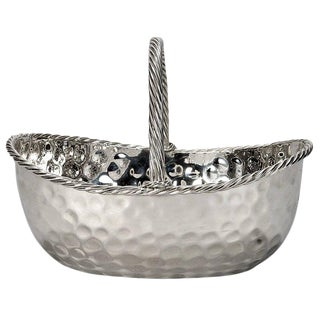 Mid-Century Hammered Silver Plate Basket