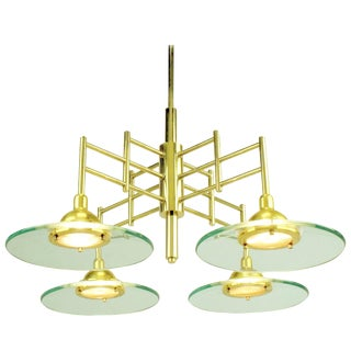 Architectural Four-Light Brass and Glass Pendant Halogen Chandelier