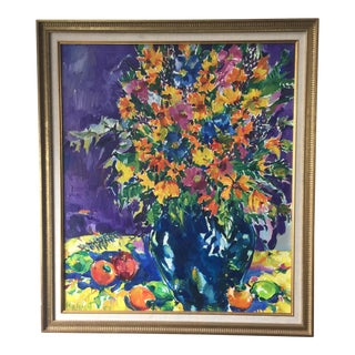 Bright Floral Original Oil Painting on Canvas