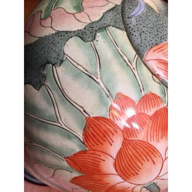 Floral Ginger Jar Lamp With Dark Wood Base - Image 6 of 10