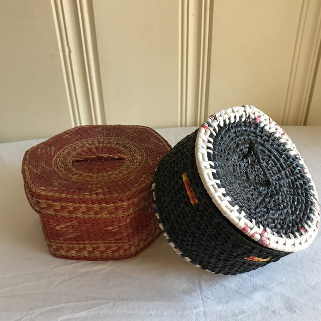 Natural Woven Boho Basket Boxes - A Pair - Image 5 of 10