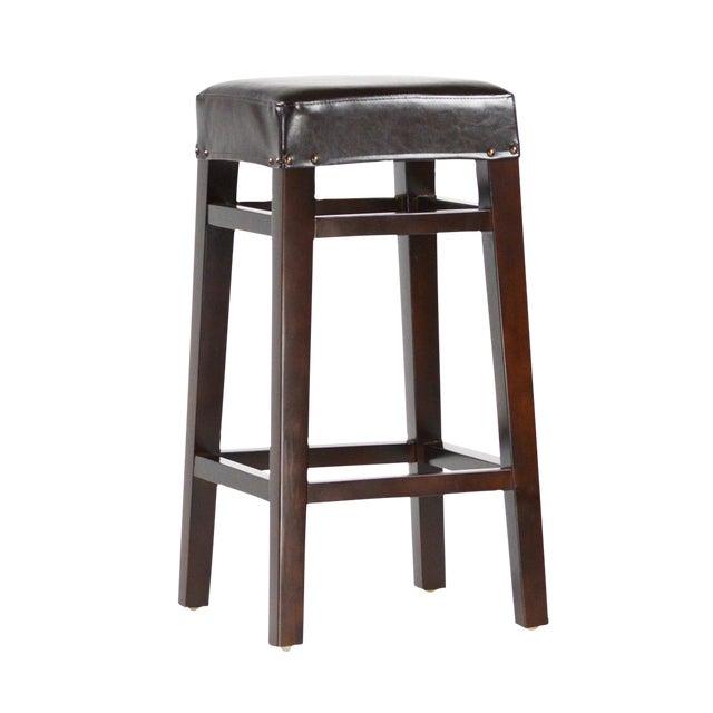 Dark Wood & Leather Bar Stool - Image 1 of 2