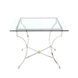 Brass Hoof Feet Chrome Glass Top Square Game Table