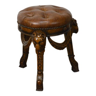 Maitland Smith Tufted Leather Regency Style Rams Head Stool