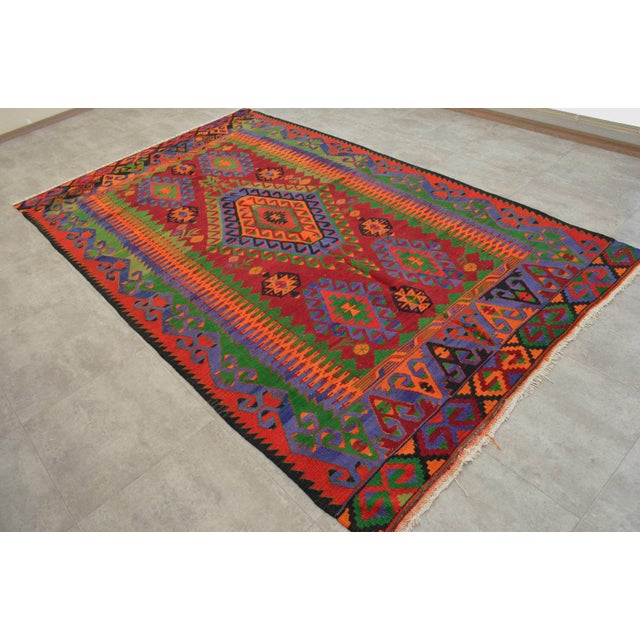 Turkish Kilim Hand Woven Wool Area Rug - 5′8″ X 9′4″ - Image 2 of 9
