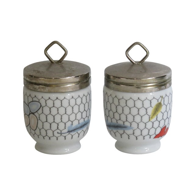 Image of Fornasetti-Style Egg Coddlers - a Pair