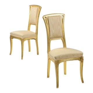 Art Nouveau Gilt Wood Side Chairs - A Pair