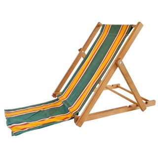 Yellow and Green Vintage Canvas Beach Chair I