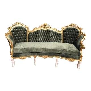 French Dark Green Velvet Louis XVI Style Sofa
