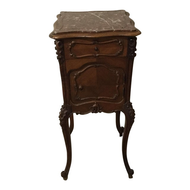 Antique French Country Marble Top Nightstand - Image 1 of 10