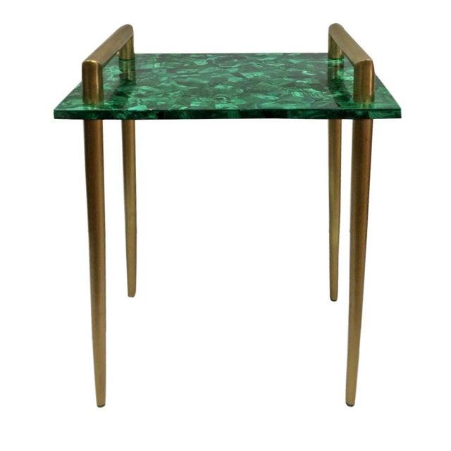 Malachite & Metal Handle Side Table - Image 1 of 2