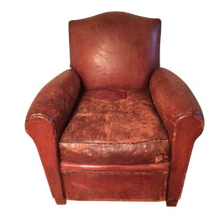 1920s French Leather Club Chair