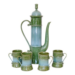 Mid-Century Green Japanese Tea Server & 4 Cups