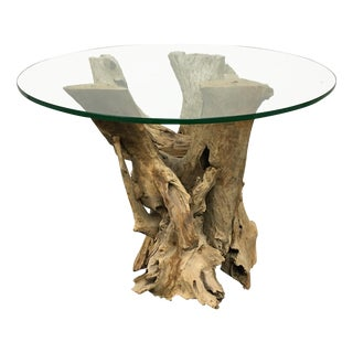 Driftwood Base Side Table With Glass Top