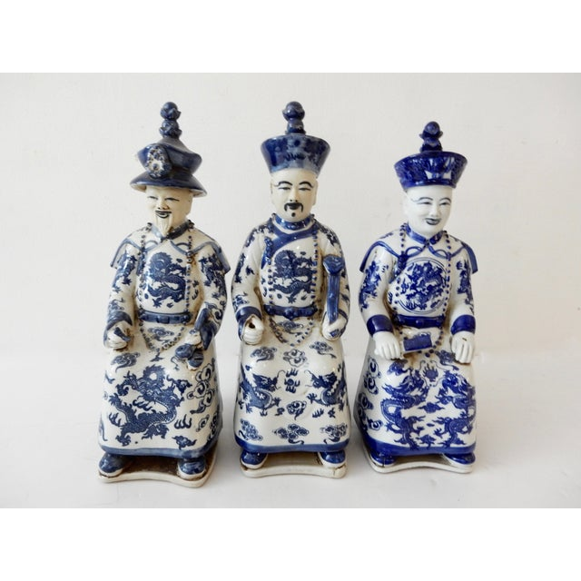 Blue and White Emperors Figures - Set of 3 - Image 2 of 6