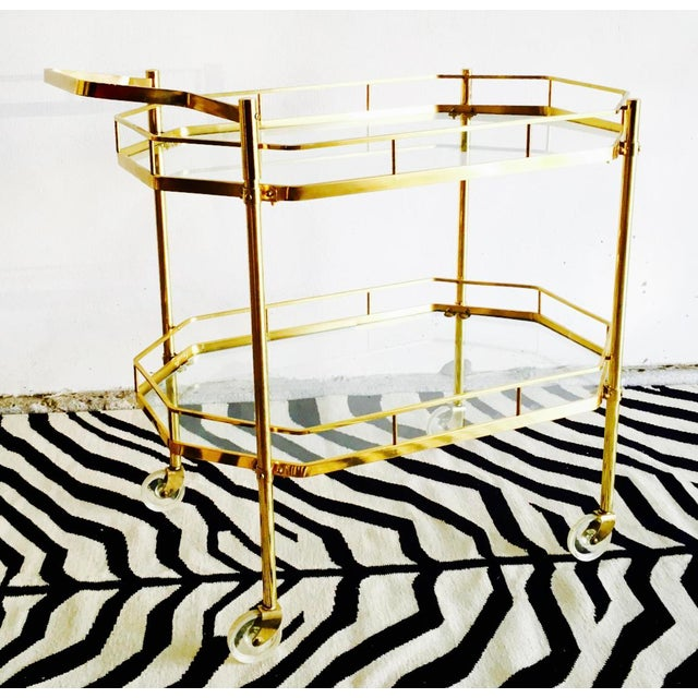 1960's French Brass Bar Cart - Image 2 of 6