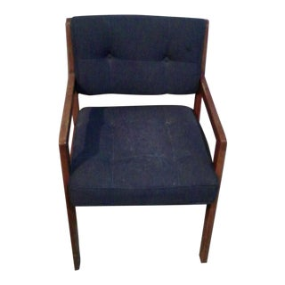 Retro Chair Wood With Navy Upholstery