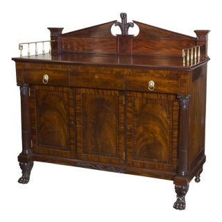 Classical Sideboard of Figured Carved Mahogany