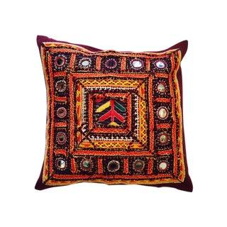 Vintage Hand Embroidered Orange Pillow
