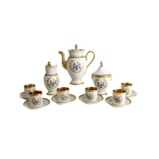 French Empire Style Porcelain Coffee Service - Set of 9