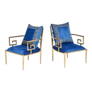 Greek Key Design Armchairs - A Pair