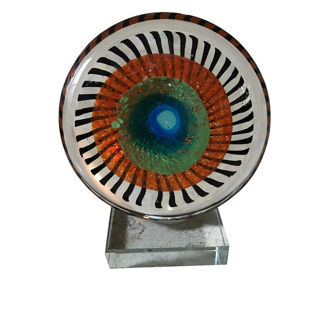 Murano Glass Eye Sculpture on Stand - Image 1 of 5