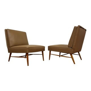 Mid-Century Modern Beige Slipper Lounge Chairs - A Pair