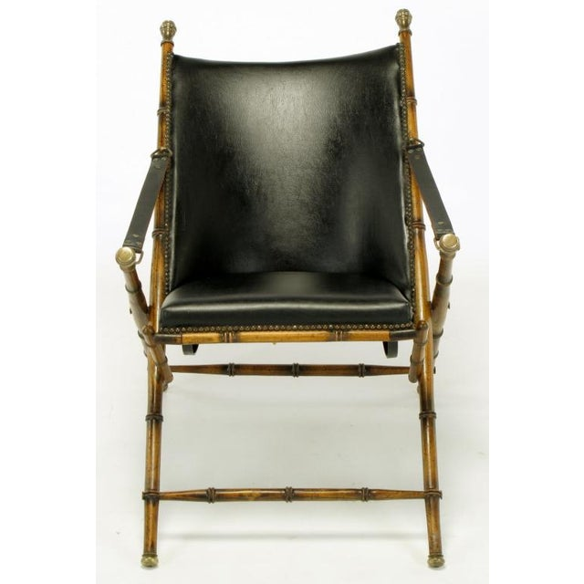 Italian Campaign Chair In Black Leather - Image 2 of 10