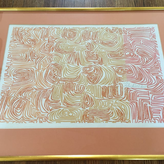 Original Abstract Lithograph in Gold Frame - Image 6 of 7