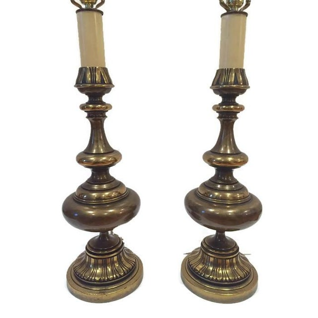 Image of Huge Mid Century Brass Ornate Moroccan Lamps - 2