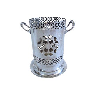 Mic-Century English Silver-Plate Wine Caddy