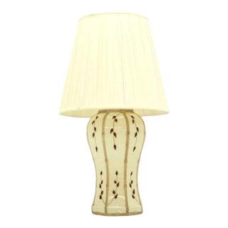 Faux Bamboo Motive Art Decorated Mid-Century Modern Lamp