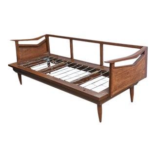 Restored Danish Teak and Cane Day Bed Attributed to Wegner, 1960s Denmark