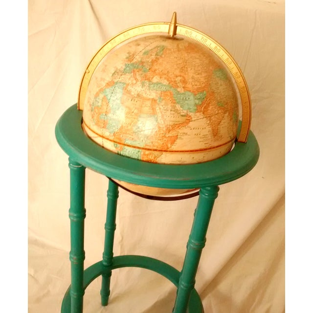 Mcm crams imperial world globe on wooden stand chairish for What does mcm the designer stand for