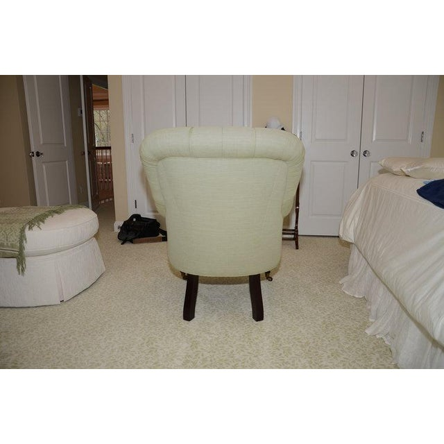 Upholstered Fern Green Tufted Chairs - A Pair - Image 4 of 7