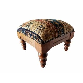 Antique Caucasian Sumac Wooden Footstool