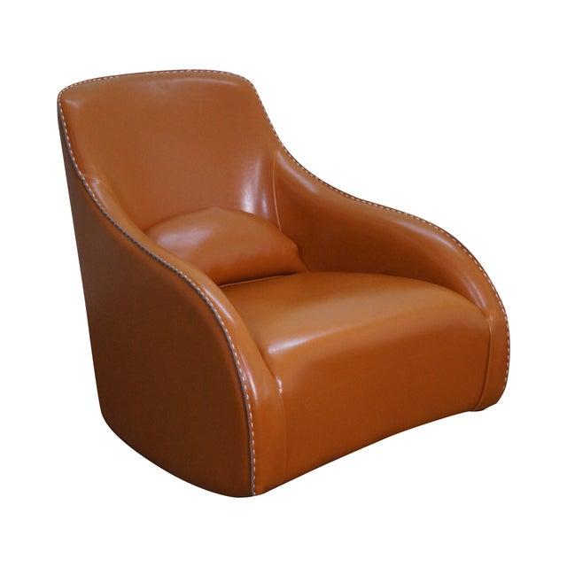 Unusual Italian Leather Rocking Lounge Chair - Image 1 of 10