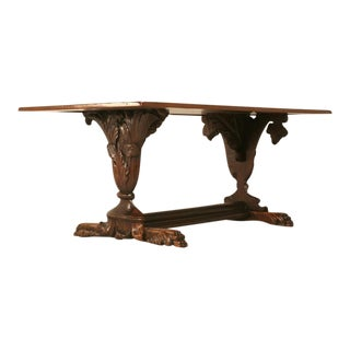 Hand-Carved Organic Relief Antique French Solid Walnut Trestle Table