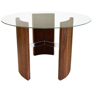 Vladimir Kagan Radius Walnut & Chrome Cocktail Table