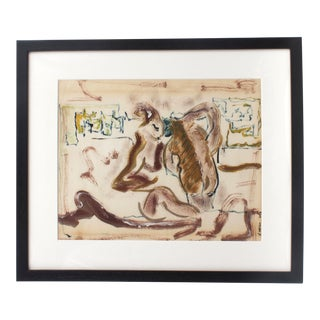 Framed Abstract Figural Mixed Media Painting