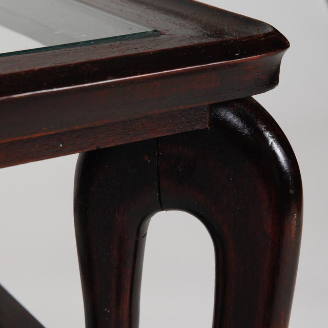 Antique Art Deco Tiered Walnut Glass Side Table - Image 10 of 11