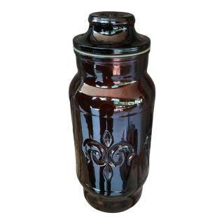 Vintage French Fleur De Lis Glass Tobacco Jar