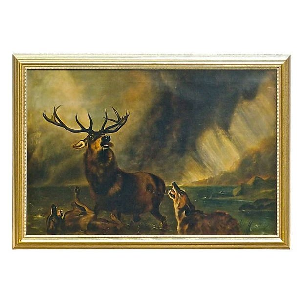 1850 Antique English Stag Painting - Image 1 of 3