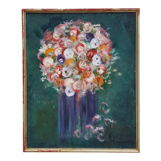 1973 Cynthia Montquisy Oil Still Life Flowers Painting