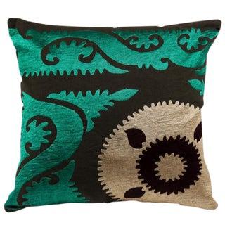 Emerald Suzani Crest Pillow