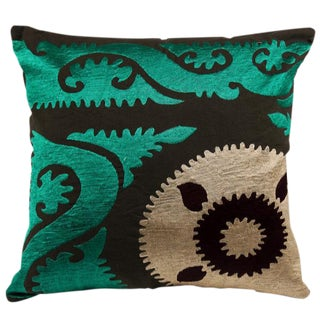 Emerald Suzani Crest Pillow